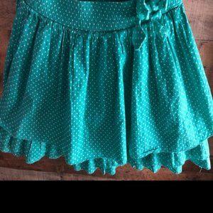 Cherokee Girls teal polka dot ruffled skirt